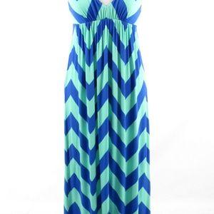 Bright blue green J. CREW stretch maxi dress Small